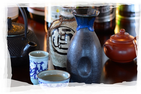 Assorted drinks, tea pots and sake glasses
